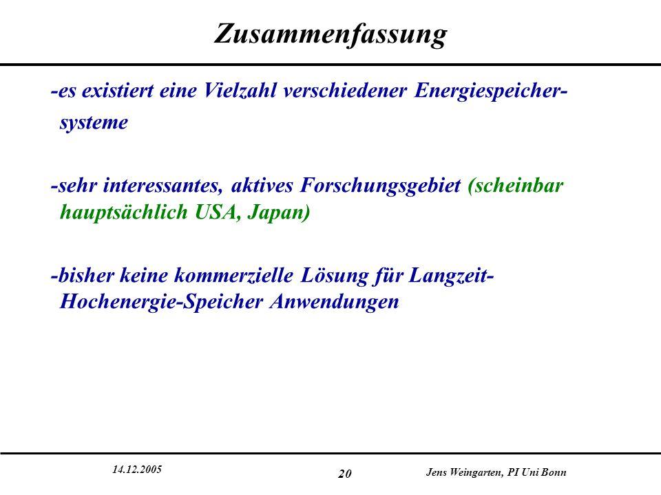 14.12.2005 Jens Weingarten, PI Uni Bonn 20 Zusammenfassung -es existiert eine Vielzahl verschiedener Energiespeicher- systeme -sehr interessantes, akt