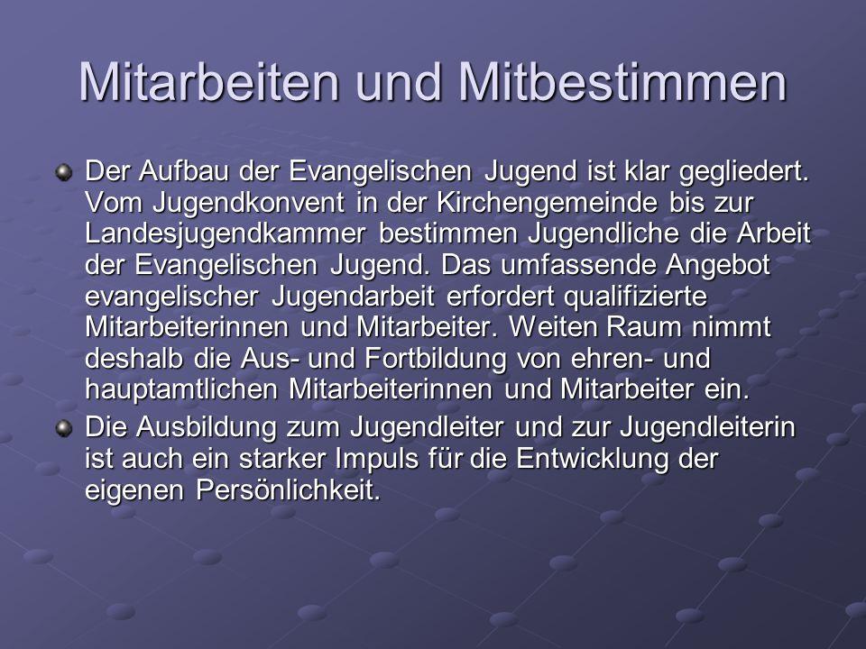 Mitarbeiten und Mitbestimmen Der Aufbau der Evangelischen Jugend ist klar gegliedert.