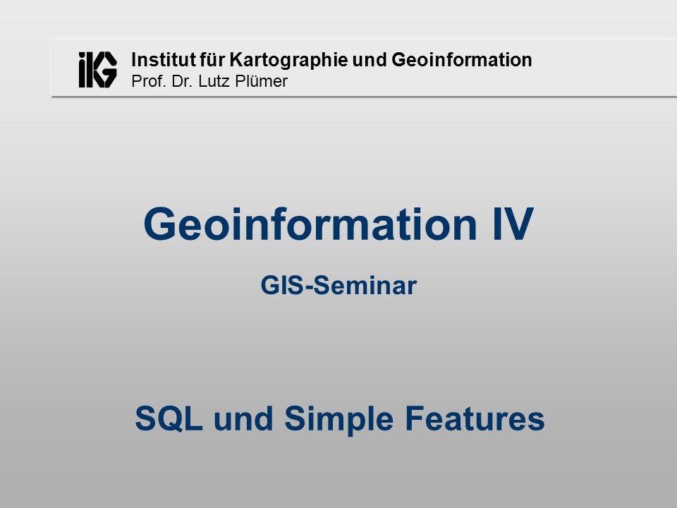 Institut für Kartographie und Geoinformation Prof. Dr. Lutz Plümer Geoinformation IV GIS-Seminar SQL und Simple Features