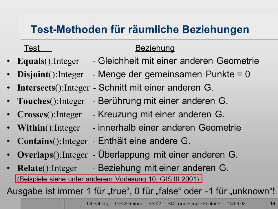 Till Baberg - GIS-Seminar - SS 02 - SQL und Simple Features - 13.06.0216 Test-Methoden für räumliche Beziehungen Equals():Integer - Gleichheit mit ein