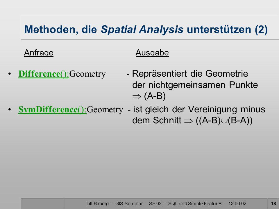 Till Baberg - GIS-Seminar - SS 02 - SQL und Simple Features - 13.06.0218 Methoden, die Spatial Analysis unterstützen (2) Difference():Geometry - Reprä