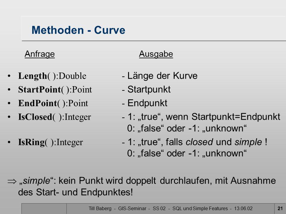 Till Baberg - GIS-Seminar - SS 02 - SQL und Simple Features - 13.06.0221 Methoden - Curve Length( ):Double- Länge der Kurve StartPoint( ):Point- Start