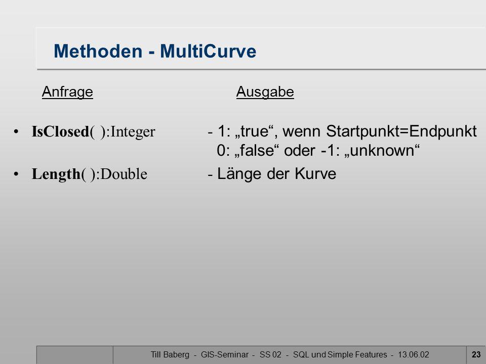 "Till Baberg - GIS-Seminar - SS 02 - SQL und Simple Features - 13.06.0223 Methoden - MultiCurve IsClosed( ):Integer- 1: ""true"", wenn Startpunkt=Endpunk"
