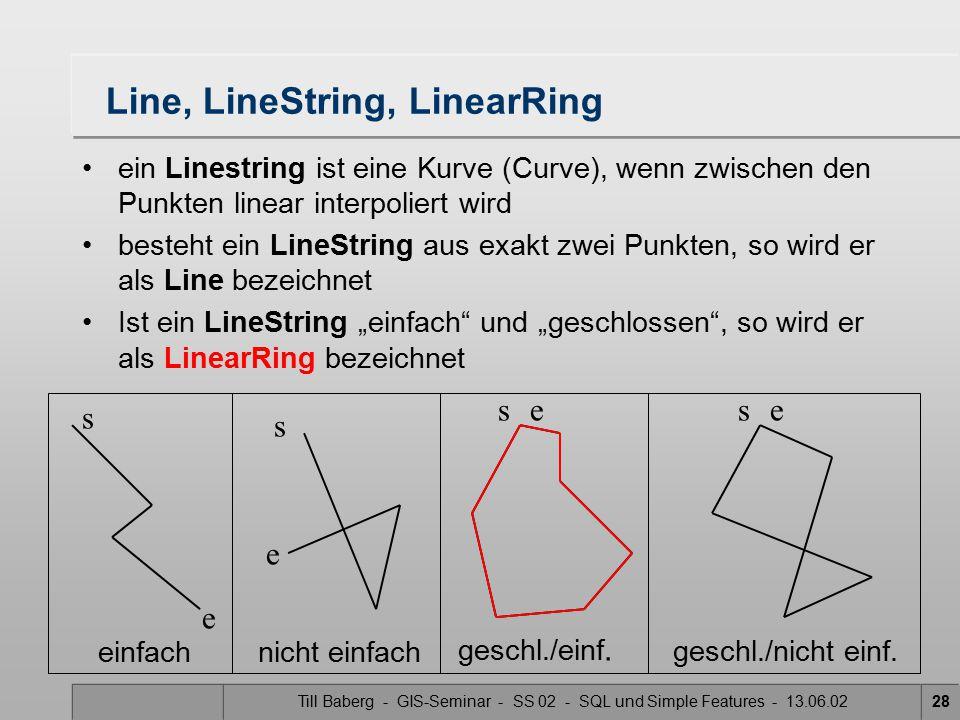 Till Baberg - GIS-Seminar - SS 02 - SQL und Simple Features - 13.06.0228 Line, LineString, LinearRing einfachnicht einfach geschl./einf. s e s ss e ee