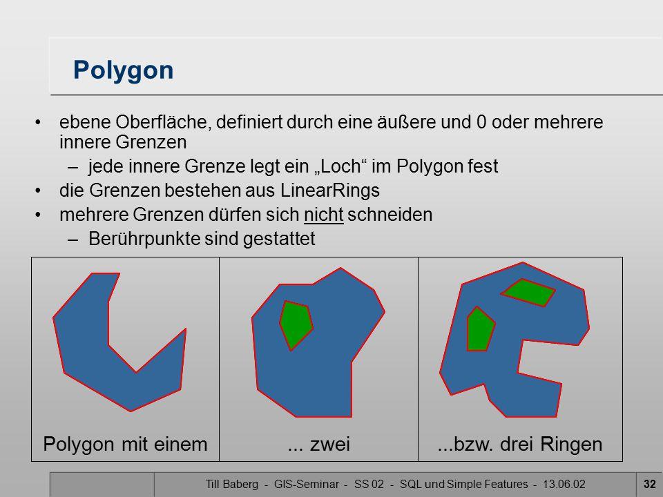 Till Baberg - GIS-Seminar - SS 02 - SQL und Simple Features - 13.06.0232 Polygon ebene Oberfläche, definiert durch eine äußere und 0 oder mehrere inne