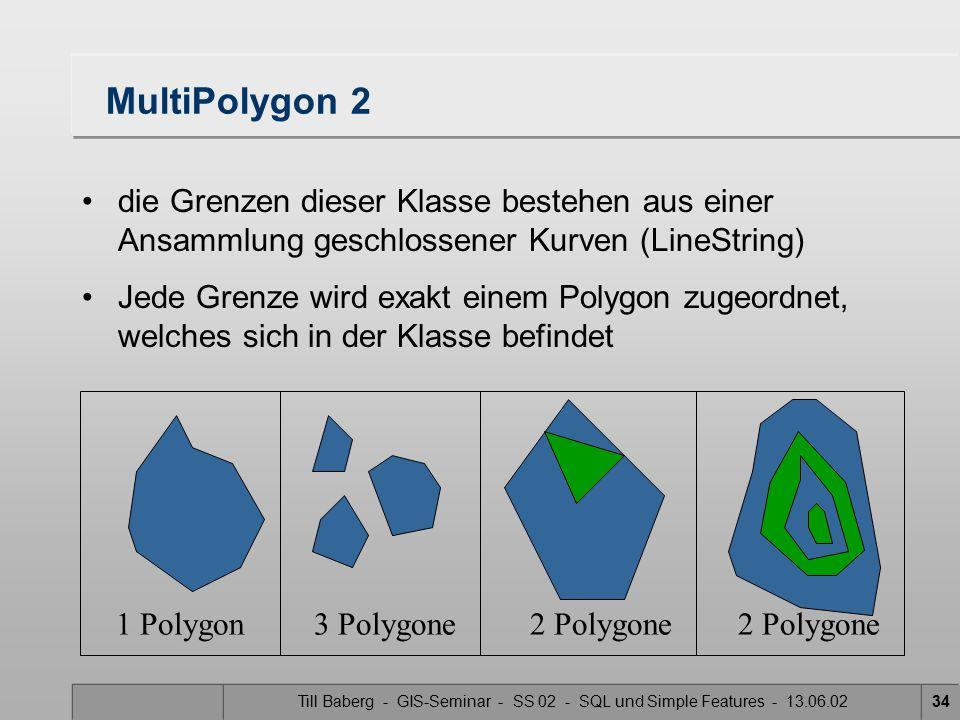 Till Baberg - GIS-Seminar - SS 02 - SQL und Simple Features - 13.06.0234 MultiPolygon 2 die Grenzen dieser Klasse bestehen aus einer Ansammlung geschl
