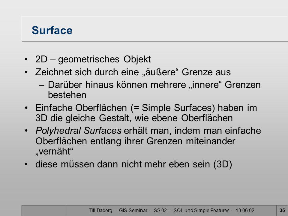 """Till Baberg - GIS-Seminar - SS 02 - SQL und Simple Features - 13.06.0235 Surface 2D – geometrisches Objekt Zeichnet sich durch eine """"äußere"""" Grenze au"""