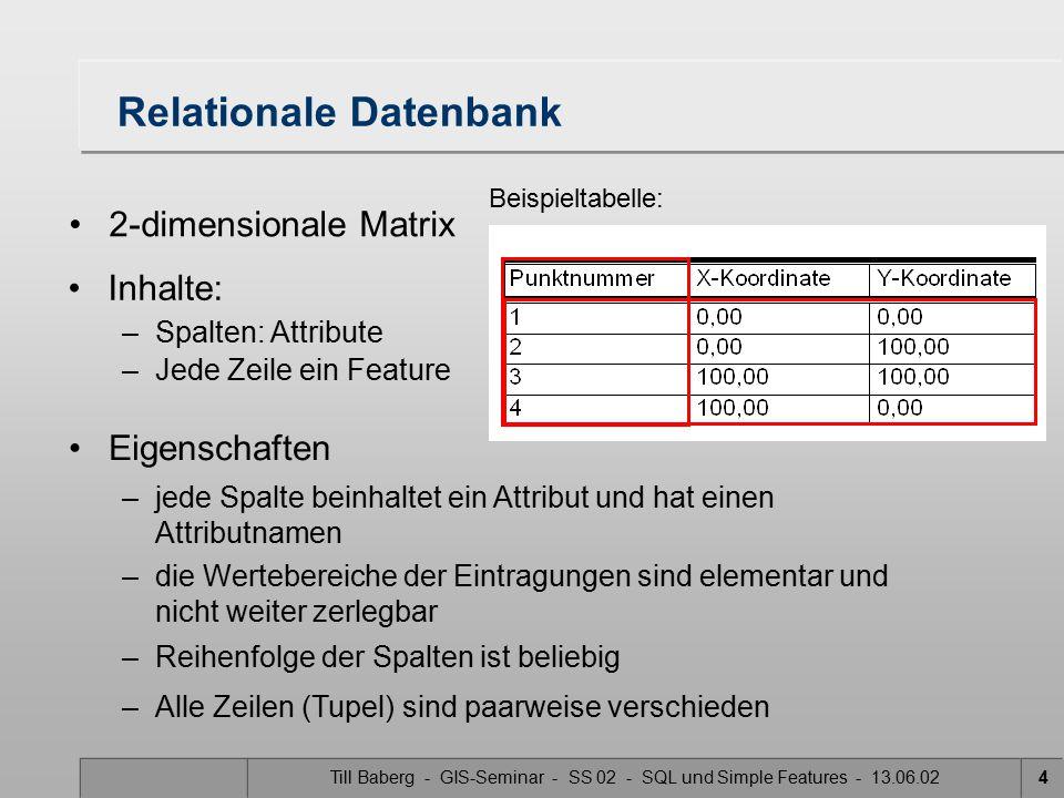 Till Baberg - GIS-Seminar - SS 02 - SQL und Simple Features - 13.06.024 Relationale Datenbank 2-dimensionale Matrix Beispieltabelle: Inhalte: –Spalten