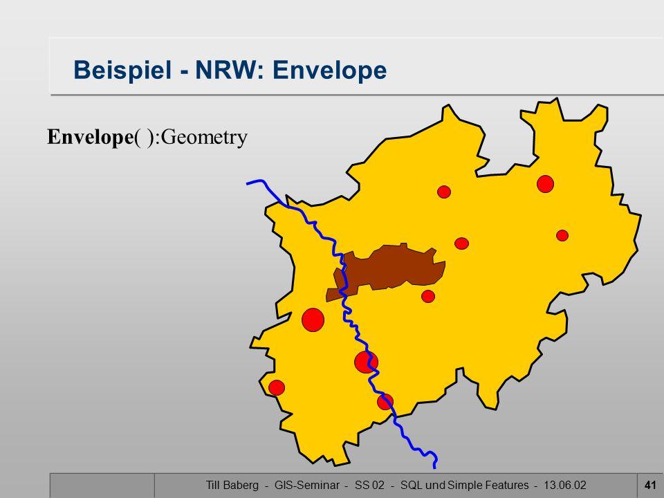 Till Baberg - GIS-Seminar - SS 02 - SQL und Simple Features - 13.06.0241 Beispiel - NRW: Envelope Envelope( ):Geometry
