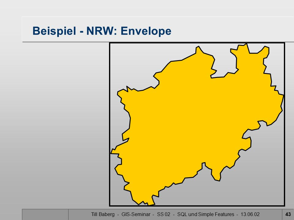 Till Baberg - GIS-Seminar - SS 02 - SQL und Simple Features - 13.06.0243 Beispiel - NRW: Envelope