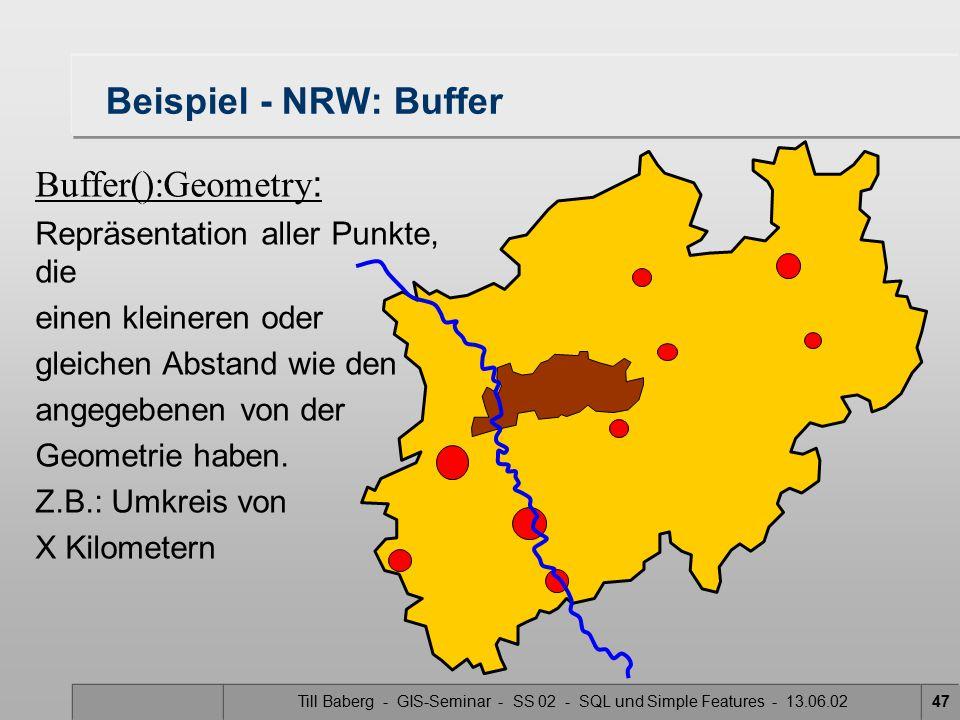 Till Baberg - GIS-Seminar - SS 02 - SQL und Simple Features - 13.06.0247 Beispiel - NRW: Buffer Buffer():Geometry : Repräsentation aller Punkte, die e
