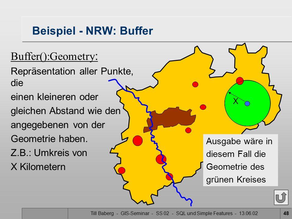 Till Baberg - GIS-Seminar - SS 02 - SQL und Simple Features - 13.06.0248 Beispiel - NRW: Buffer Buffer():Geometry : Repräsentation aller Punkte, die e
