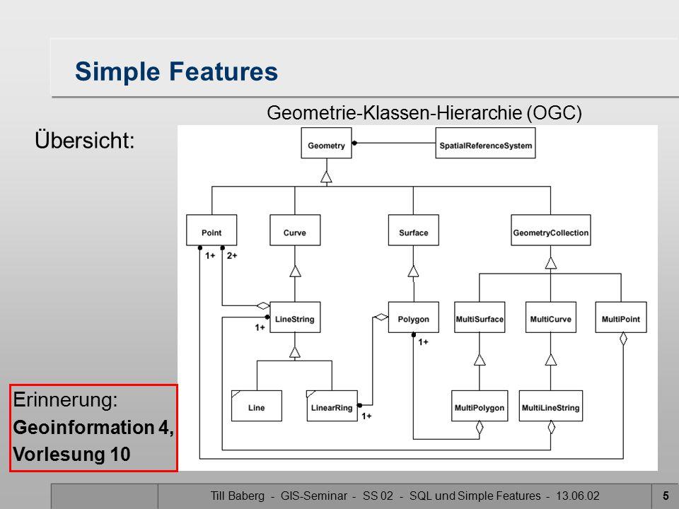 Till Baberg - GIS-Seminar - SS 02 - SQL und Simple Features - 13.06.0236 MultiSurface 2D Ansammlungen von Oberflächen zwei verschiedene Oberflächen (Surfaces) dürfen sich nicht schneiden –ansonsten kein Multisurface sondern Surface die Grenzen zweier Elemente können sich in einer begrenzten Anzahl von Punkten berühren MultiSurface wird als abstrakte Klasse bezeichnet Sie definiert verschiedene Vorgehensweisen für deren Unterklassen