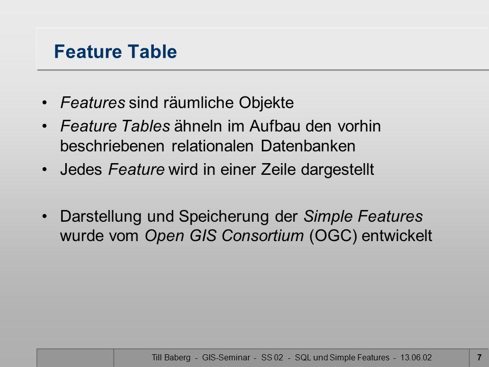 Till Baberg - GIS-Seminar - SS 02 - SQL und Simple Features - 13.06.028 Feature Table Es gibt drei Speicherungsarten der Feature Tables SQL 92, unter Anwendung von a) numerischen b) binären SQL-Typen zur Speicherung der Geometrie SQL 92, mit Geometrietypen