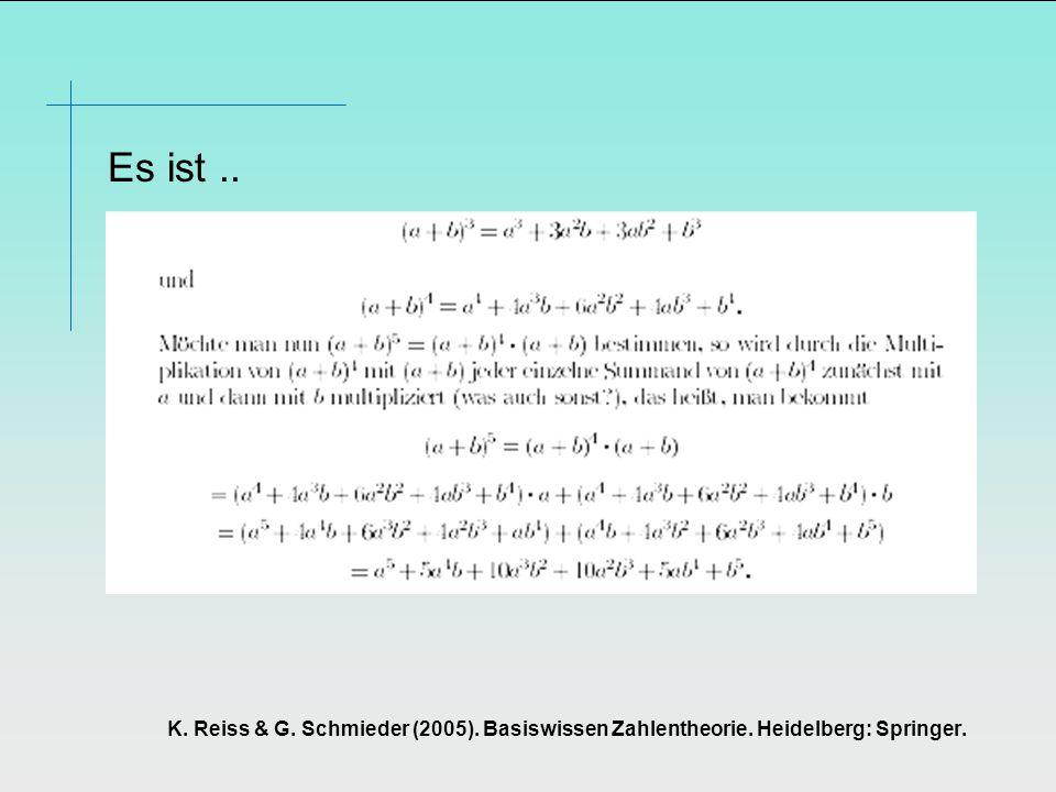 K. Reiss & G. Schmieder (2005). Basiswissen Zahlentheorie. Heidelberg: Springer. Es ist..