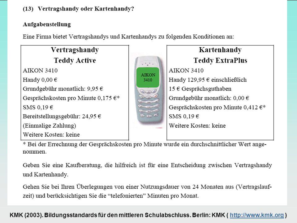 KMK (2003). Bildungsstandards für den mittleren Schulabschluss.