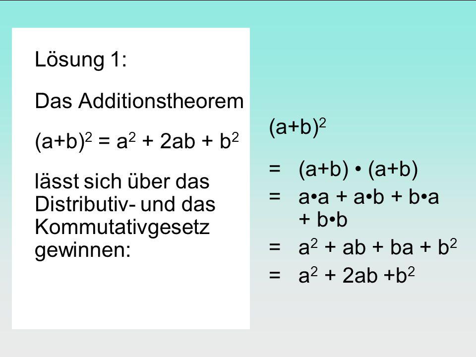 Lösung 1: Das Additionstheorem (a+b) 2 = a 2 + 2ab + b 2 lässt sich über das Distributiv- und das Kommutativgesetz gewinnen: (a+b) 2 = (a+b) (a+b) = aa + ab + ba + bb = a 2 + ab + ba + b 2 = a 2 + 2ab +b 2