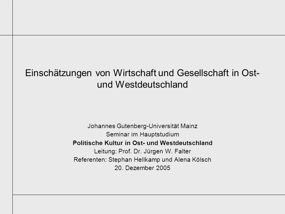 Einschätzungen von Wirtschaft und Gesellschaft in Ost- und Westdeutschland Johannes Gutenberg-Universität Mainz Seminar im Hauptstudium Politische Kul