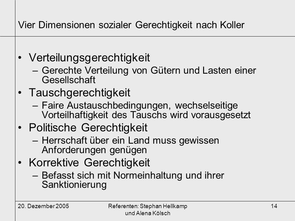 20. Dezember 2005Referenten: Stephan Hellkamp und Alena Kölsch 14 Vier Dimensionen sozialer Gerechtigkeit nach Koller Verteilungsgerechtigkeit –Gerech