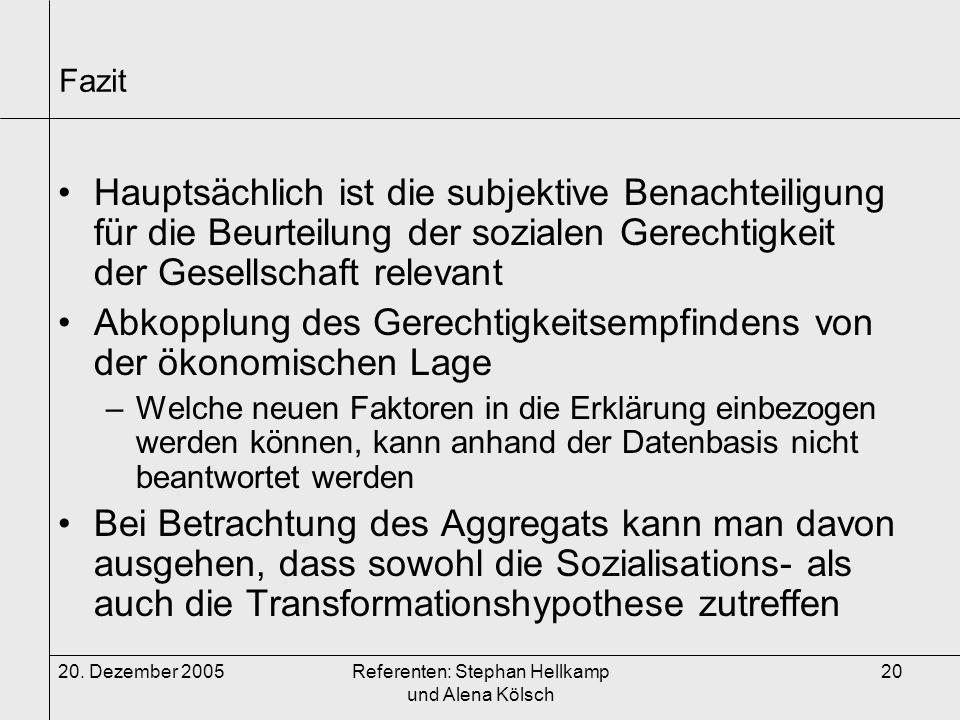 20. Dezember 2005Referenten: Stephan Hellkamp und Alena Kölsch 20 Fazit Hauptsächlich ist die subjektive Benachteiligung für die Beurteilung der sozia