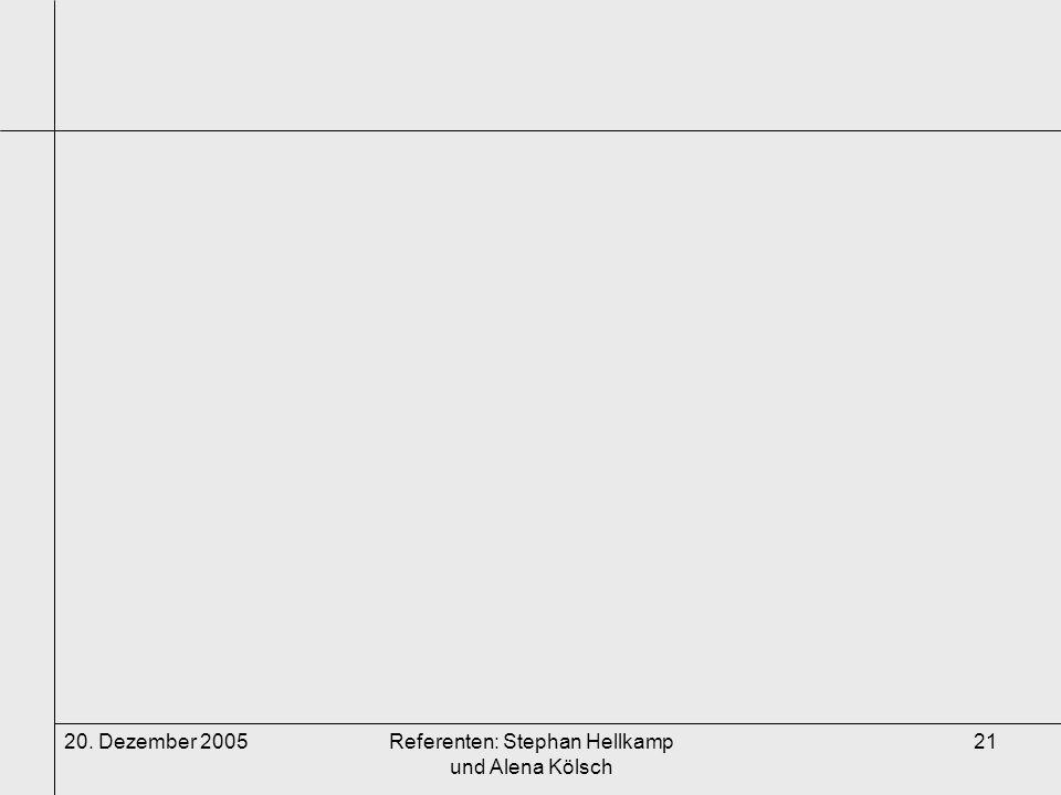 20. Dezember 2005Referenten: Stephan Hellkamp und Alena Kölsch 21