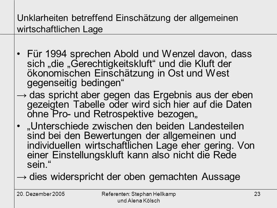 20. Dezember 2005Referenten: Stephan Hellkamp und Alena Kölsch 23 Unklarheiten betreffend Einschätzung der allgemeinen wirtschaftlichen Lage Für 1994