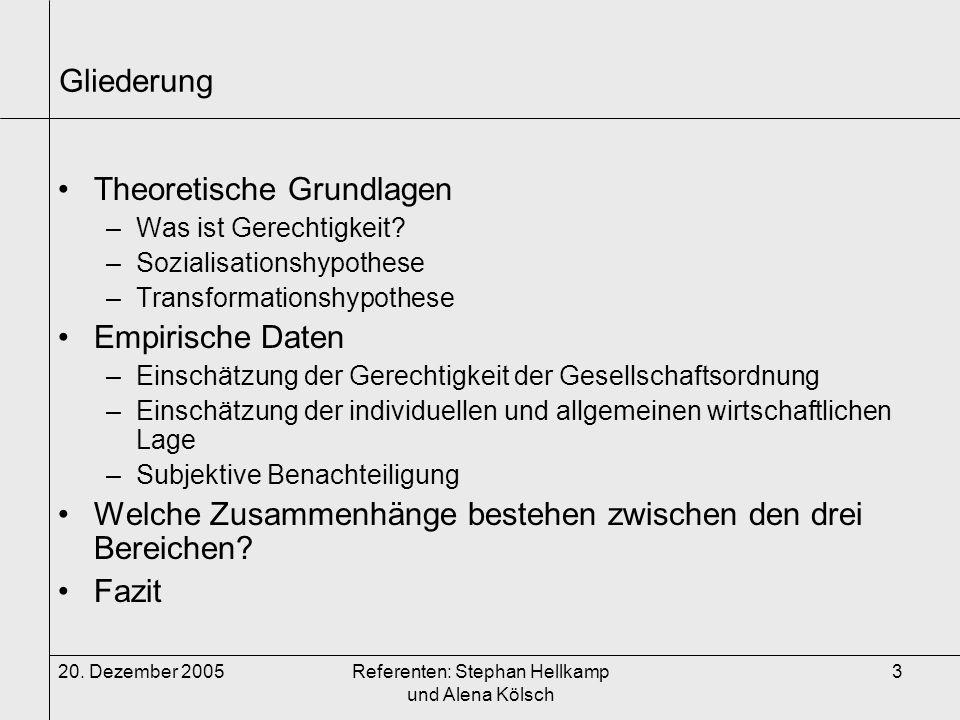 20. Dezember 2005Referenten: Stephan Hellkamp und Alena Kölsch 3 Gliederung Theoretische Grundlagen –Was ist Gerechtigkeit? –Sozialisationshypothese –