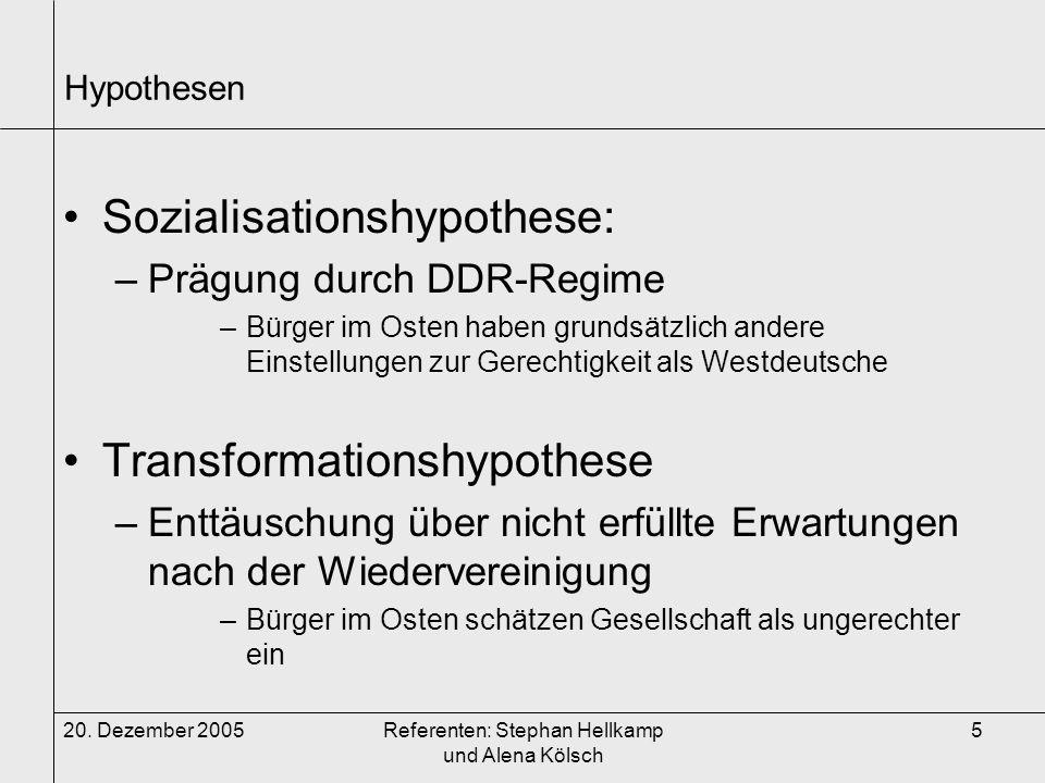 20. Dezember 2005Referenten: Stephan Hellkamp und Alena Kölsch 5 Hypothesen Sozialisationshypothese: –Prägung durch DDR-Regime –Bürger im Osten haben