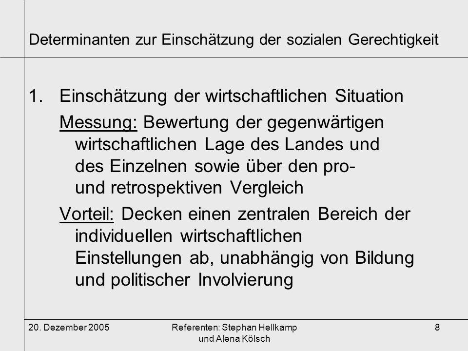20. Dezember 2005Referenten: Stephan Hellkamp und Alena Kölsch 8 Determinanten zur Einschätzung der sozialen Gerechtigkeit 1.Einschätzung der wirtscha