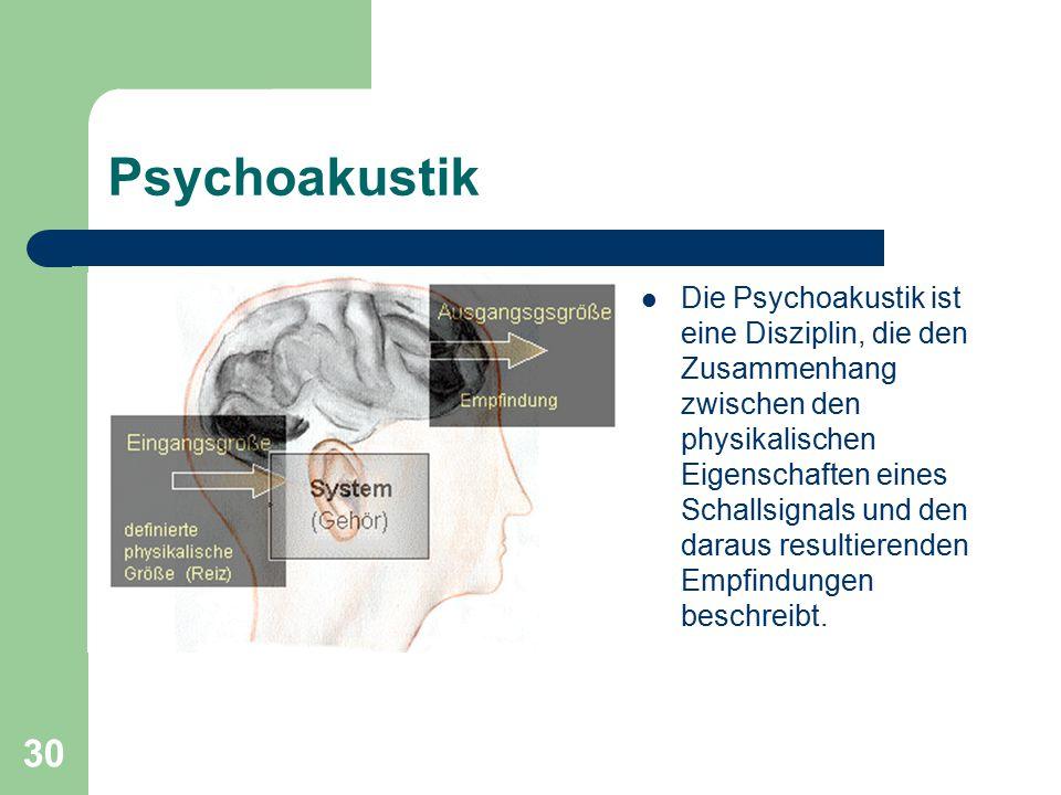 30 Psychoakustik Die Psychoakustik ist eine Disziplin, die den Zusammenhang zwischen den physikalischen Eigenschaften eines Schallsignals und den dara