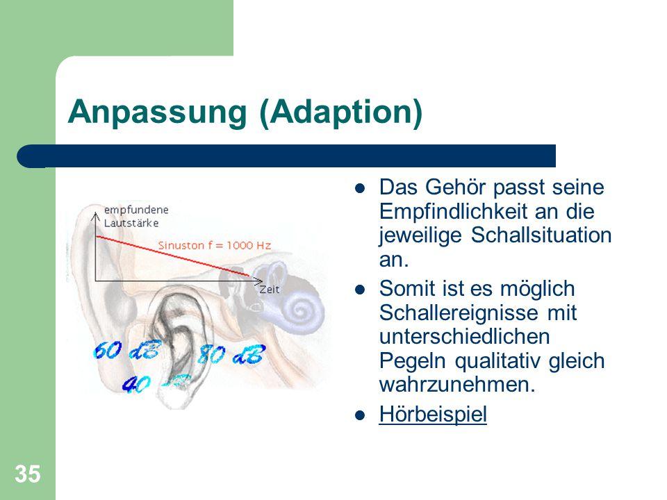 35 Anpassung (Adaption) Das Gehör passt seine Empfindlichkeit an die jeweilige Schallsituation an. Somit ist es möglich Schallereignisse mit unterschi