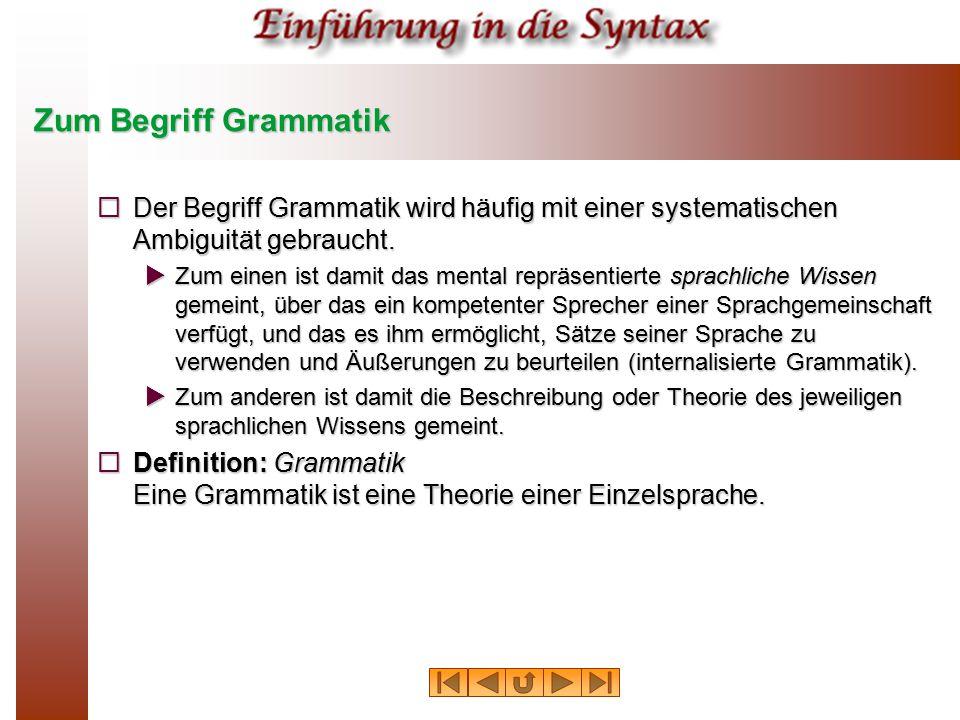 Zum Begriff Grammatik  Der Begriff Grammatik wird häufig mit einer systematischen Ambiguität gebraucht.  Zum einen ist damit das mental repräsentier