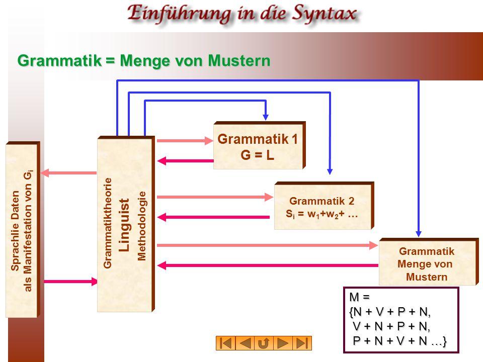 Grammatik = Menge von Mustern Sprachlie Daten als Manifestation von G i Grammatik 1 G = L Grammatik 2 S i = w 1 +w 2 + … Grammatik Menge von Mustern L