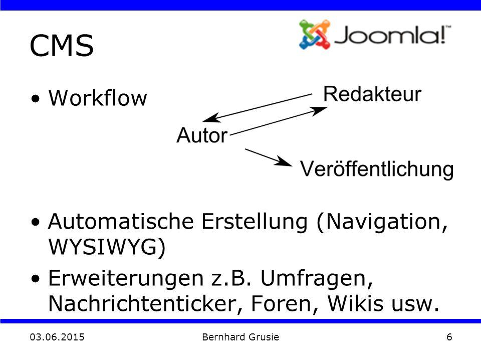 03.06.2015 Bernhard Grusie6 CMS Workflow Automatische Erstellung (Navigation, WYSIWYG) Erweiterungen z.B. Umfragen, Nachrichtenticker, Foren, Wikis us