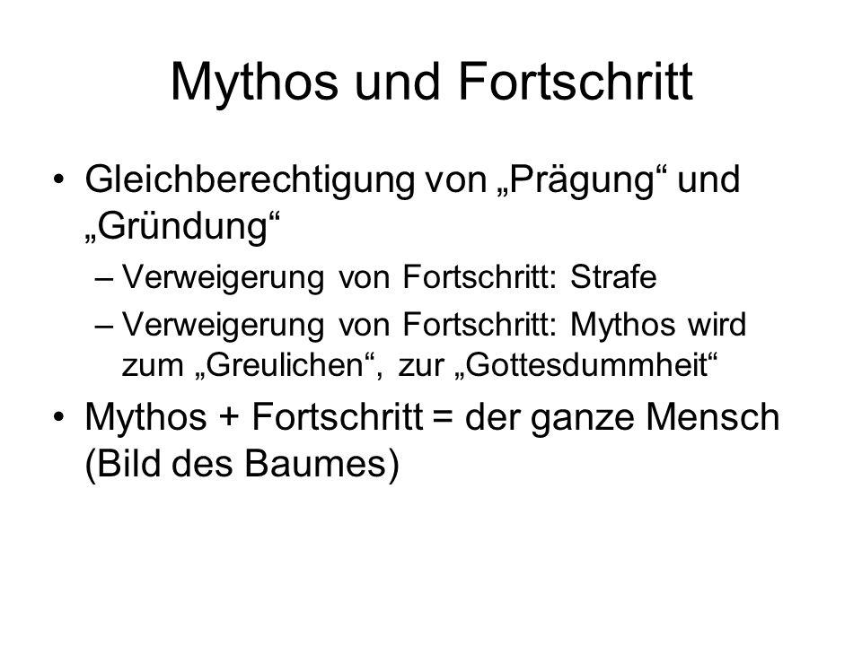 """Mythos und Fortschritt Gleichberechtigung von """"Prägung"""" und """"Gründung"""" –Verweigerung von Fortschritt: Strafe –Verweigerung von Fortschritt: Mythos wir"""
