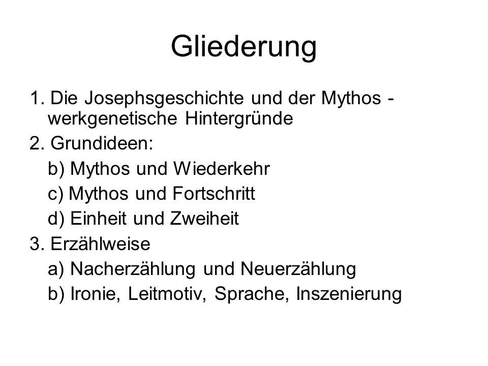 Gliederung 1. Die Josephsgeschichte und der Mythos - werkgenetische Hintergründe 2. Grundideen: b) Mythos und Wiederkehr c) Mythos und Fortschritt d)