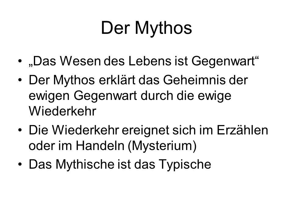 """Der Mythos """"Das Wesen des Lebens ist Gegenwart"""" Der Mythos erklärt das Geheimnis der ewigen Gegenwart durch die ewige Wiederkehr Die Wiederkehr ereign"""