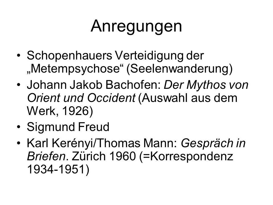"""Anregungen Schopenhauers Verteidigung der """"Metempsychose"""" (Seelenwanderung) Johann Jakob Bachofen: Der Mythos von Orient und Occident (Auswahl aus dem"""