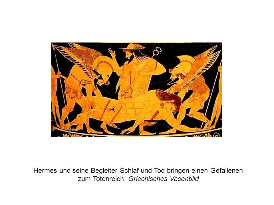 Hermes und seine Begleiter Schlaf und Tod bringen einen Gefallenen zum Totenreich. Griechisches Vasenbild