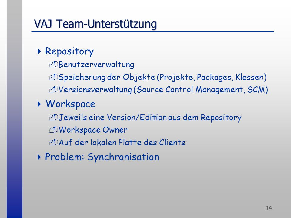 14 VAJ Team-Unterstützung  Repository -Benutzerverwaltung -Speicherung der Objekte (Projekte, Packages, Klassen) -Versionsverwaltung (Source Control Management, SCM)  Workspace -Jeweils eine Version/Edition aus dem Repository -Workspace Owner -Auf der lokalen Platte des Clients  Problem: Synchronisation
