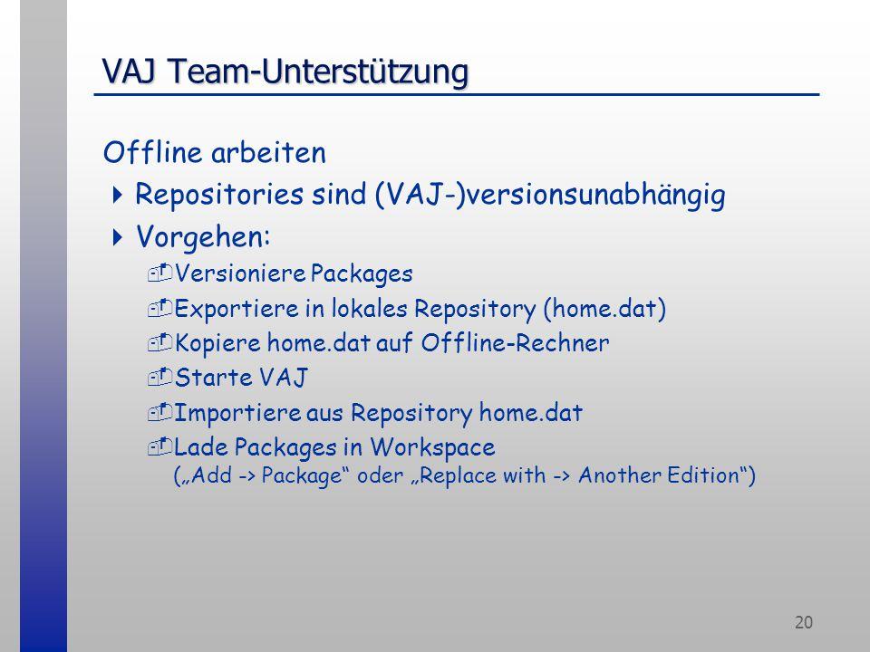 "20 VAJ Team-Unterstützung Offline arbeiten  Repositories sind (VAJ-)versionsunabhängig  Vorgehen: -Versioniere Packages -Exportiere in lokales Repository (home.dat) -Kopiere home.dat auf Offline-Rechner -Starte VAJ -Importiere aus Repository home.dat -Lade Packages in Workspace (""Add -> Package oder ""Replace with -> Another Edition )"