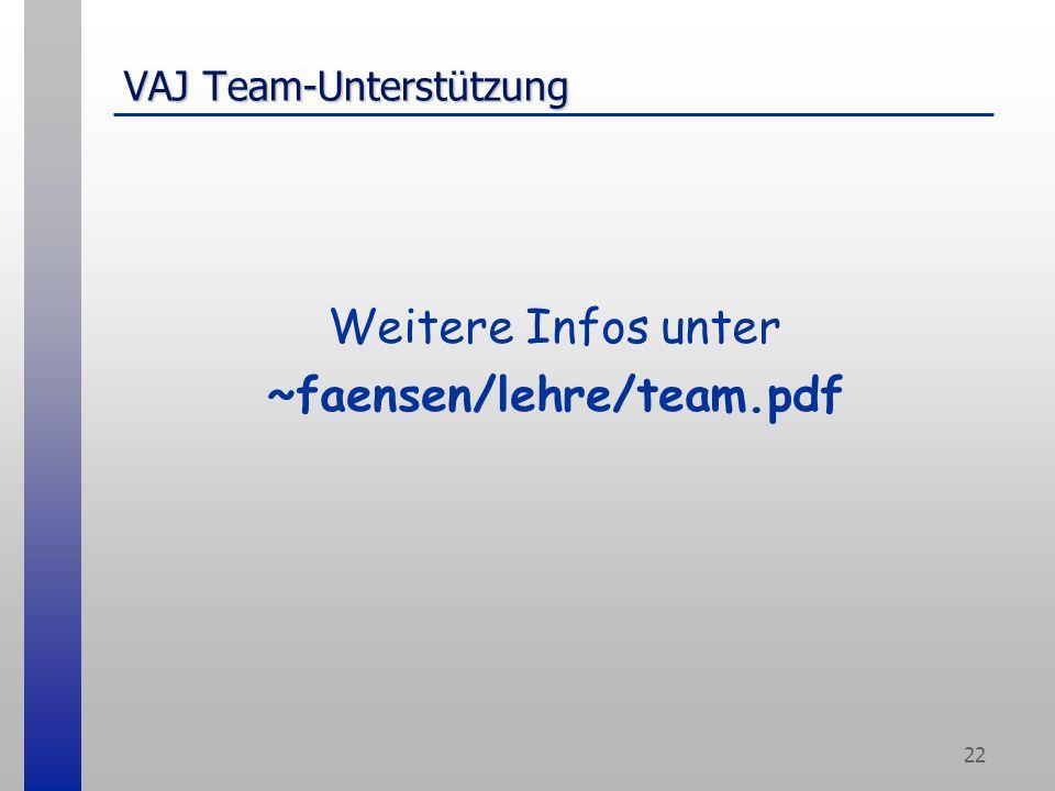 22 VAJ Team-Unterstützung Weitere Infos unter ~faensen/lehre/team.pdf
