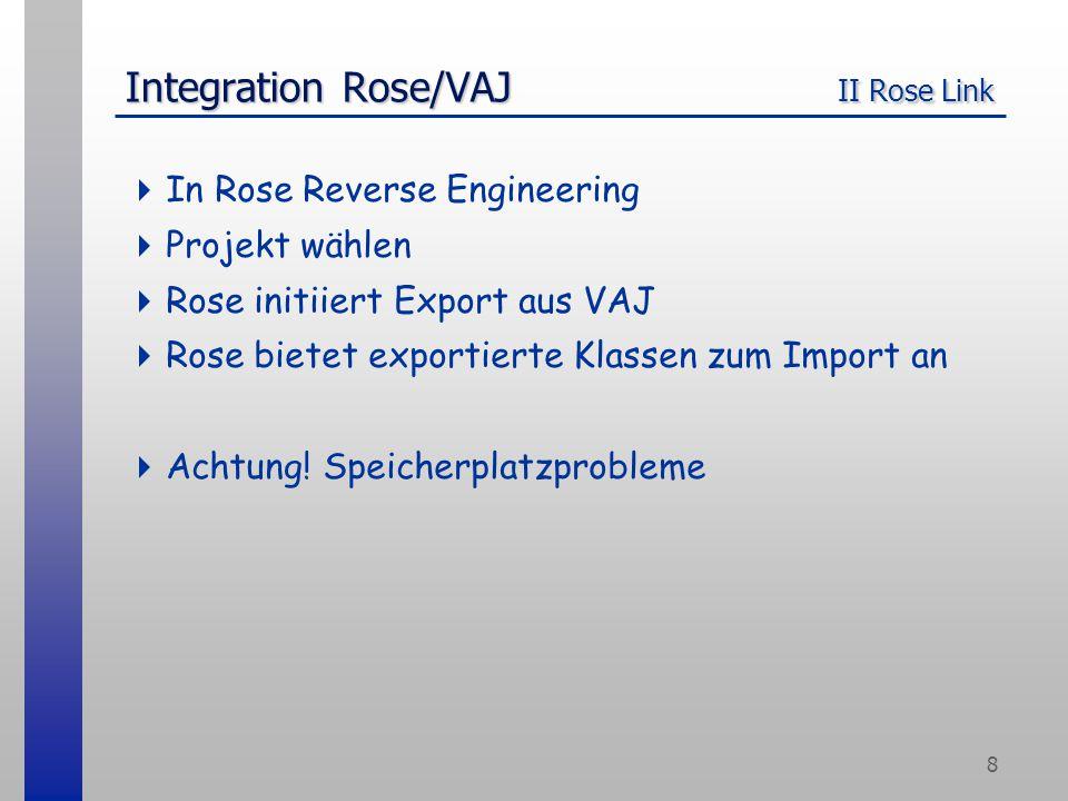 9 Integration Rose/VAJ Problembehebung  Probleme beim Import: -Vor dem Export aus VAJ alle Java-Dateien löschen (Backup!)  Modell nach dem Reverse Engineering aufräumen -Assoziationen in Attribute umwandeln (~faensen/rose/CleanAssociationsAfterImport.ebs + ~faensen/rose/roseImportConversions.txt) -Für überfüllte Klassen: Show All {Attributes,Operations} abstellen, Select Compartment Items