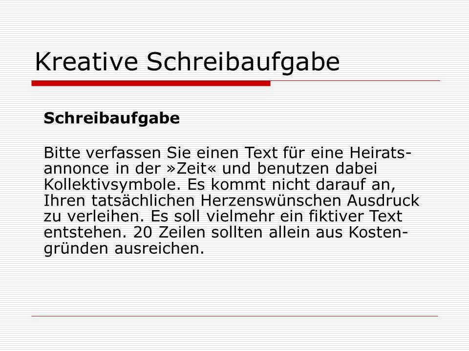 Kreative Schreibaufgabe Schreibaufgabe Bitte verfassen Sie einen Text für eine Heirats- annonce in der »Zeit« und benutzen dabei Kollektivsymbole.