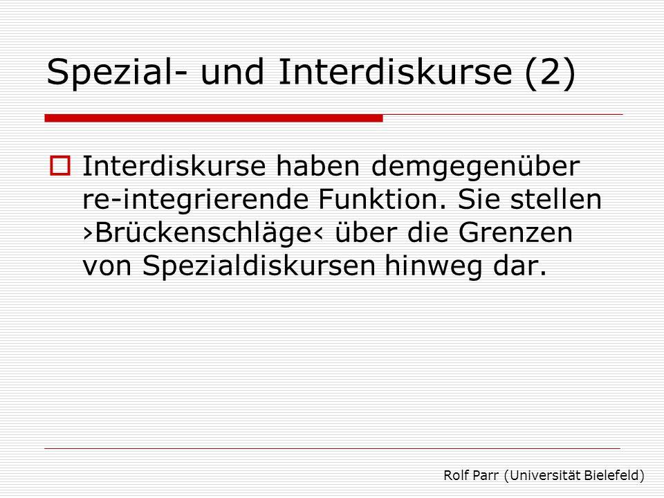 Spezial- und Interdiskurse (3)  Elemente von Interdiskursen sind analogiebildende Verfahren wie Metaphern und Kollektivsymbole, Narrative Schemata Stereotypen, Mythen, Charakter(feind)bilder Rolf Parr (Universität Bielefeld)