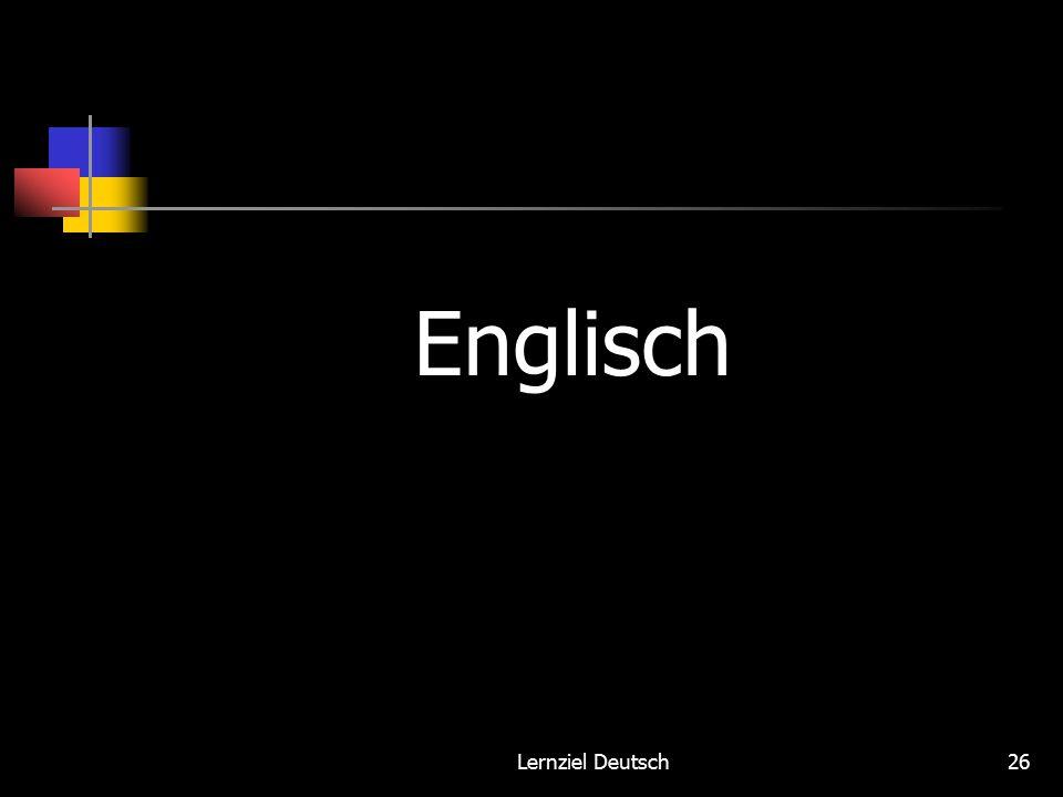 Lernziel Deutsch26 Englisch