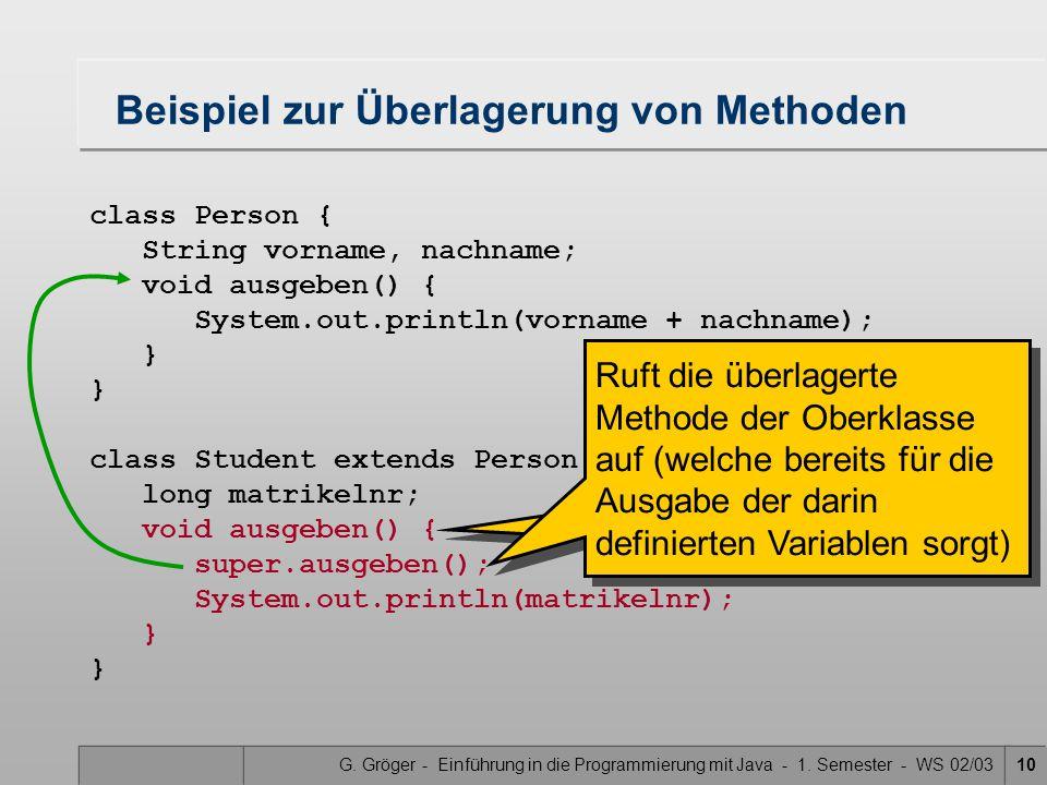G. Gröger - Einführung in die Programmierung mit Java - 1. Semester - WS 02/0310 Beispiel zur Überlagerung von Methoden class Person { String vorname,