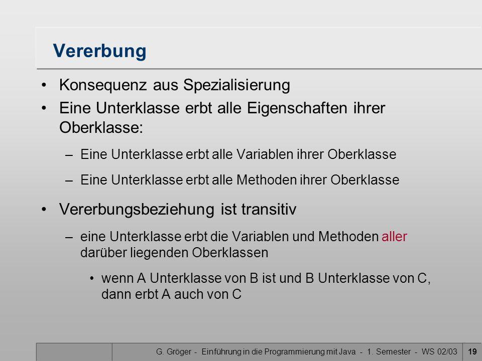 G. Gröger - Einführung in die Programmierung mit Java - 1. Semester - WS 02/0319 Vererbung Konsequenz aus Spezialisierung Eine Unterklasse erbt alle E