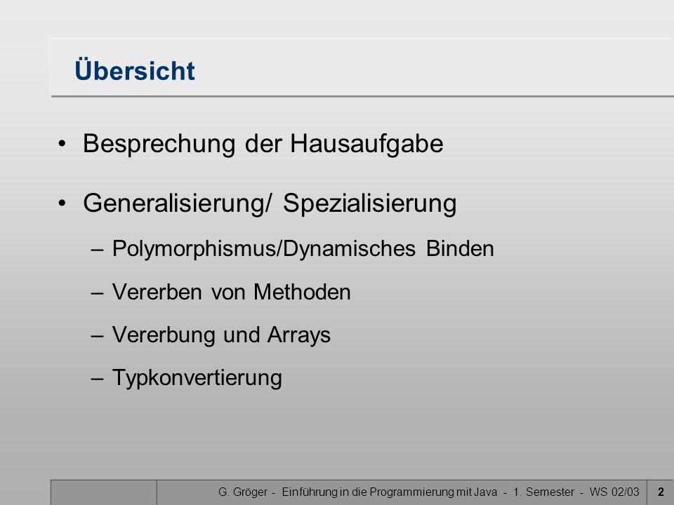 G. Gröger - Einführung in die Programmierung mit Java - 1. Semester - WS 02/032 Übersicht Besprechung der Hausaufgabe Generalisierung/ Spezialisierung