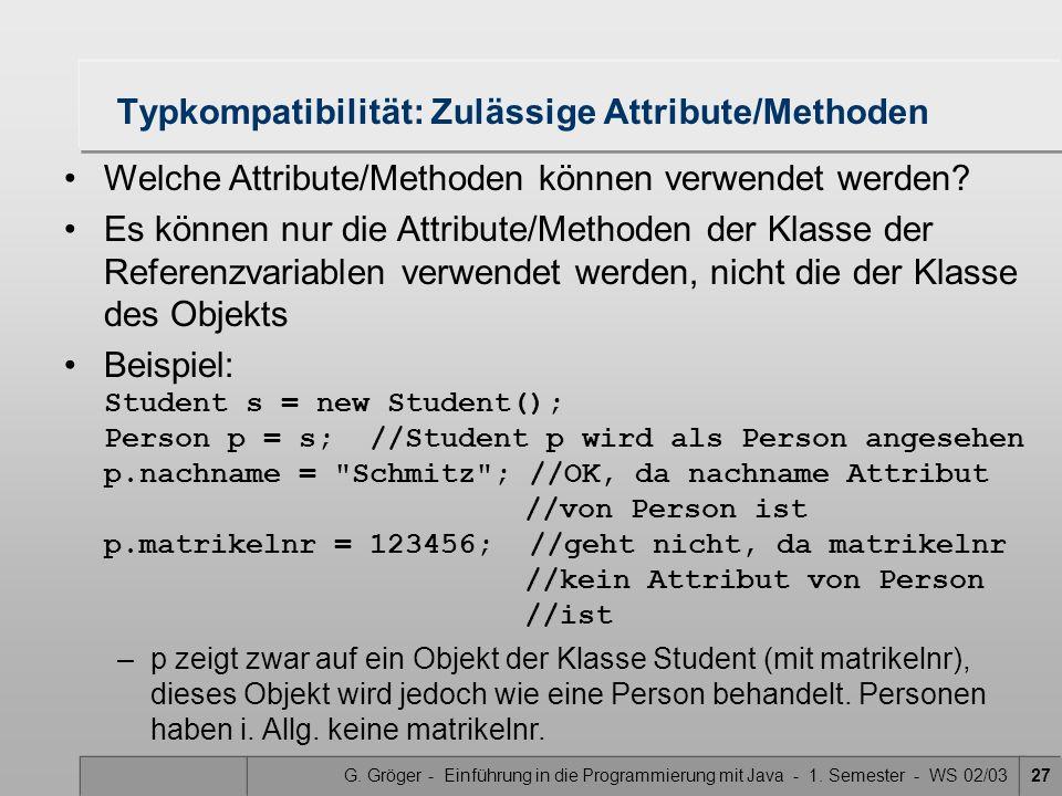G. Gröger - Einführung in die Programmierung mit Java - 1. Semester - WS 02/0327 Typkompatibilität: Zulässige Attribute/Methoden Welche Attribute/Meth